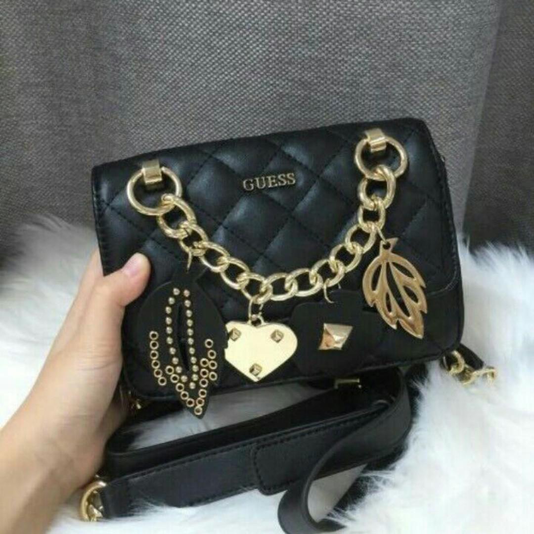 f42b1f3980 Guess Stassie Mini Society Crossbody Satchel Handbag - BLACK ...