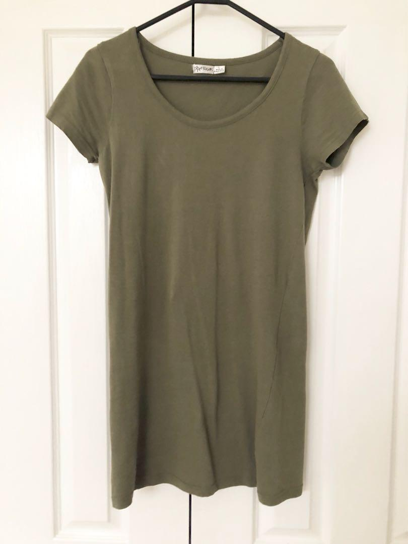 khaki t-shirt dress (tight)