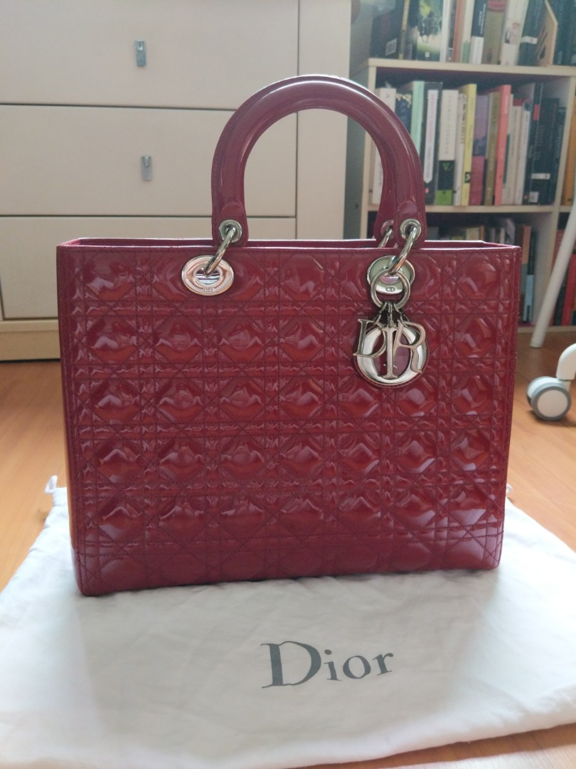 66dcb8836d Large Lady Dior in Rouge Patent Leather, Luxury, Bags & Wallets ...