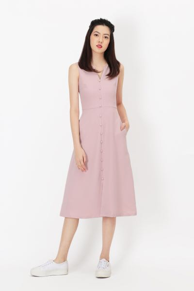 8a4015f6d08e23 LILLIE BUTTON MIDI DRESS IN PINK, L AFA, Women's Fashion, Clothes ...