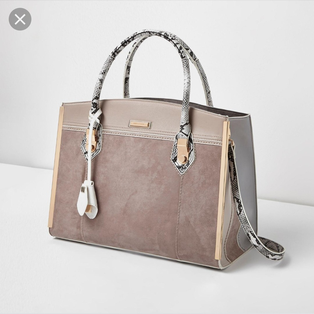 0745ad85ac River Island Snake and Solid Structured Bag, Women's Fashion, Bags ...