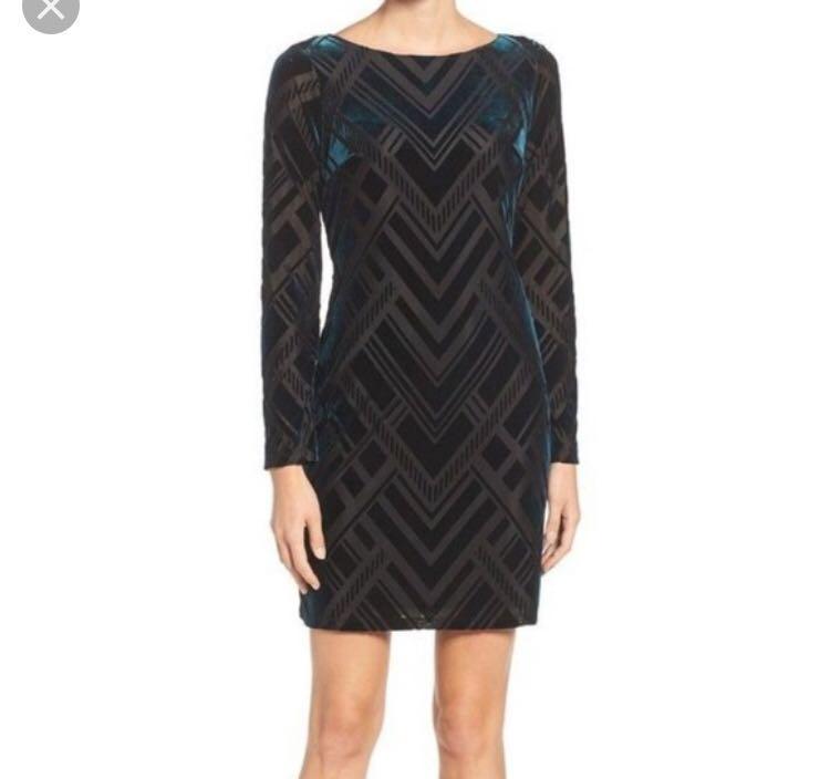 Vince Camuto Black Velvet Burnout Sheath Dress Size 6