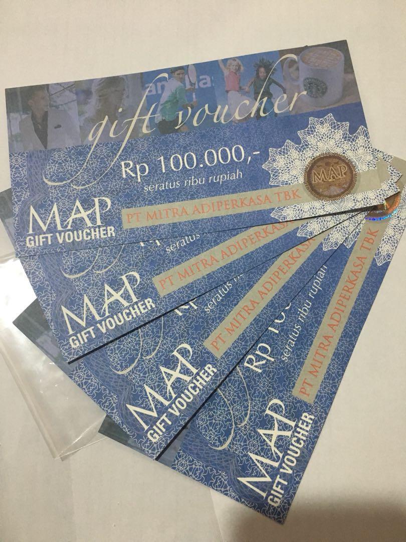 Voucher MAP @100.000 x 4 lembar, Tickets & Vouchers, Gift Cards & Vouchers on Carousell