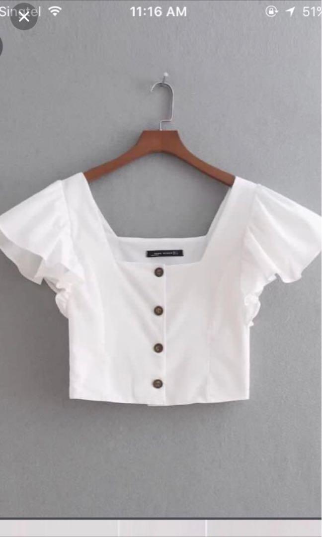 e5512827731 zara button down linen flutter sleeve straight neck crop top, Women's  Fashion, Clothes, Tops on Carousell