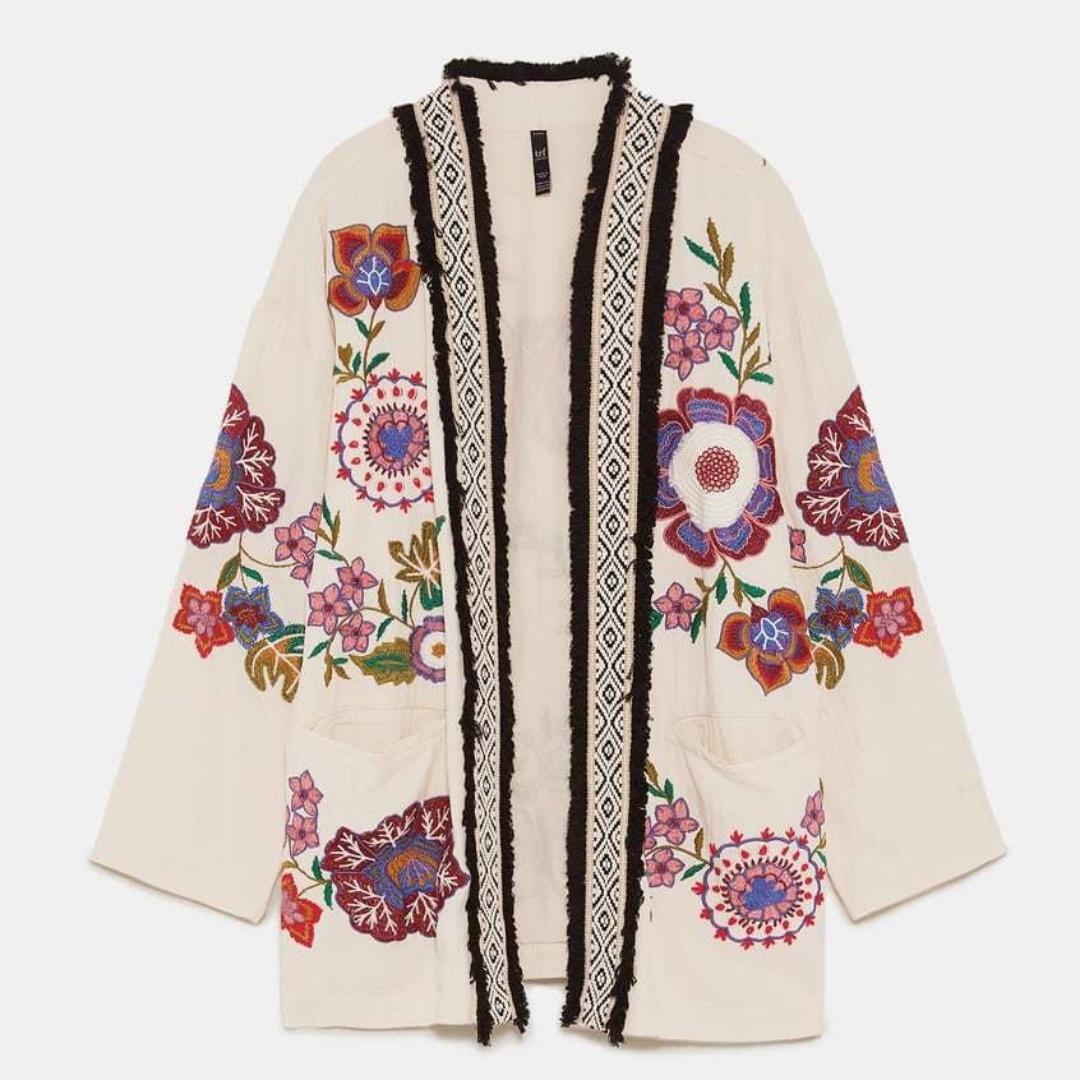 d71e7b32 ZARA New BNWOT SS 2018 Embroidered Kimono Jacket (S-M), Women's ...