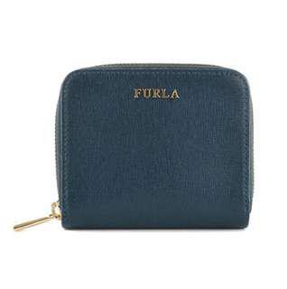 🚚 FURLA芙拉-鏈防刮牛皮短夾-藍色(附盒子)