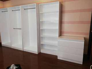 Open cabinets, Billy bookshelf, malm chest of 3