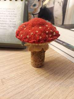 Handmade felt art felted and embroidered mushroom cork toy table decor Red and brown