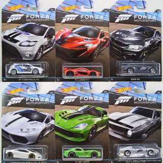 Hot Wheels Forza Motorsport Set of 6 - BMW M4, Ford Focus, Lamborghini etc