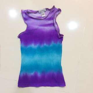 Warehouse Sheer Purple Turquoise Blue Teal Top Camisole Sleeveless Clubbing Evening Tie Dye Tiedye  Sz S or  8 UK