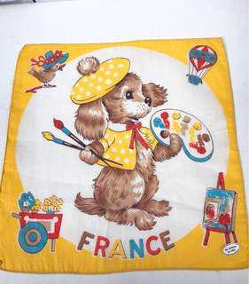 🚚 Vintage古董動物圖案手帕-畫家小狗的日常-france
