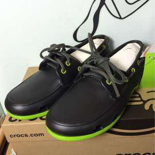 Crocs海灘帆船鞋M7(黑配綠)