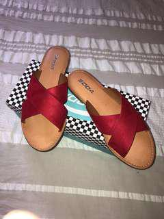 Red sandals size 8