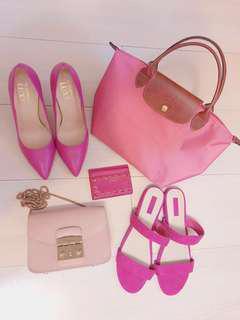 桃紅粉紅控快來😆💕二手正品出清:Furla小鏈包/Longchamp小摺疊包/Valentino卡夾/真皮高跟鞋金屬跟/Forever21拖鞋涼鞋