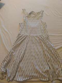 White with Navy Polka Dot A-Line Dress - Medium