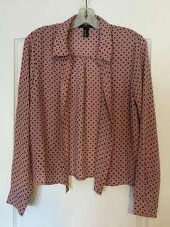 Forever 21 Pink and black polka dot shirt. Size M, Medium Ladies/Girls/Teens. Brand new! Never worn!