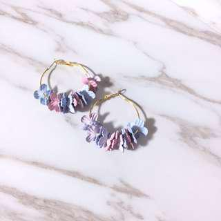Jenn's Floral Hoop Earrings in Pastel Purple Blue Pink