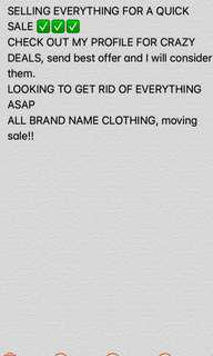 CHECK OUT MY PROFILE, MOVING SALE EVERYTHING MUST GO