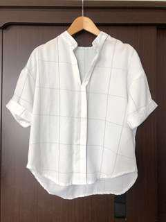 棉麻格紋開領寬袖上衣  UNIQLO風格