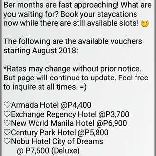 Hotel Vouchers for Sale!!!