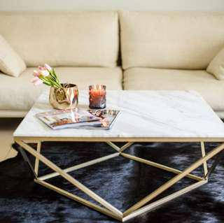 Brand New Carrara Marble Gold Square Coffee Table