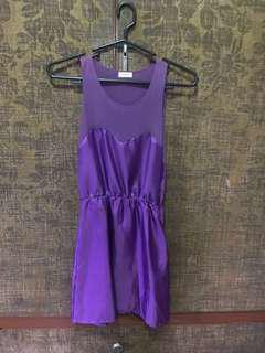 Purple Silk-Like Sleeveless Dress