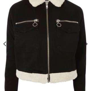 *reduced* Topshop Black denim jacket with fur trim