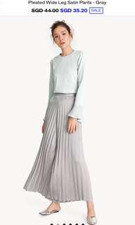 Pleated Wide Leg Satin pants in Grey