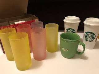7 cups + 2 Starbucks mugs