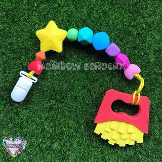 Handmade Rainbow Silicone beads Pacifier Clip + Fries teether combo