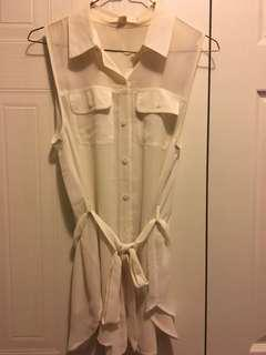 White tank chiffon blouse with tie at waist
