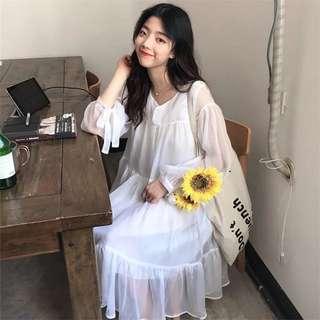 🚚 夏韓國小清新溫柔超仙長袖雪紡連身裙寬鬆顯瘦白色娃娃