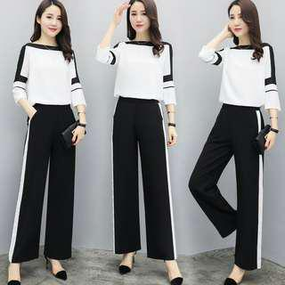 🔥new women two piece set summer chiffon blouse wide leg pants casual fashion suit