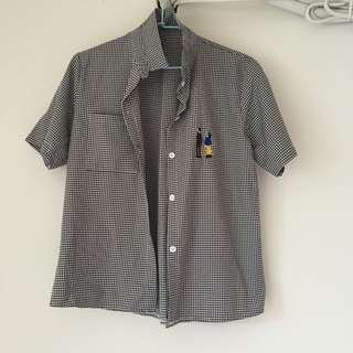 復古黑白格紋童趣襯衫