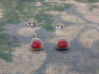 🈹925純銀Carmine opal心形耳環