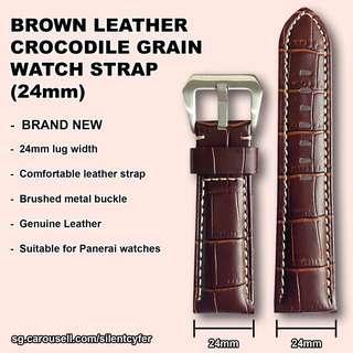 NEW Crocodile Grain Leather Strap