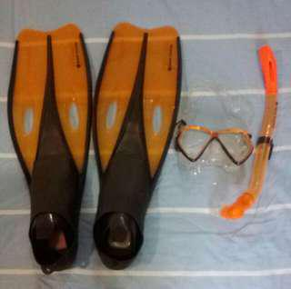 Snorkeling Fin Snorkel and Goggles for kis