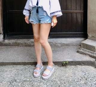 🚚 厚底編織涼鞋(藍灰色37號)