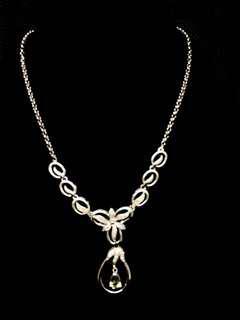 14k White Gold Diamond & Sapphire Necklace