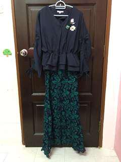 Lubna Drawstrings Top with Lace Skirts XS sizs