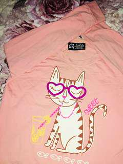 AUTHENTIC KOREAN LOVELY CAT LONG SLEEVE [PEACHY PINK]