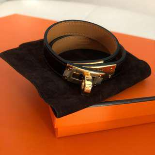 🔥BNIB Hermes Kelly double tour black and gold