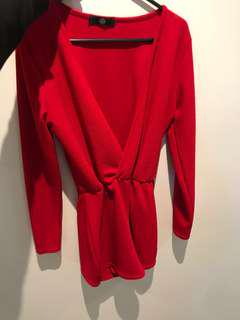 Missguided red play suit