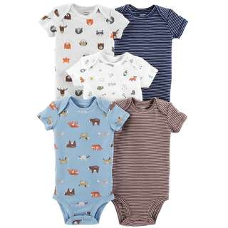🚚 CABY129 Carters Baby Boy 5-Pack Animals Original Bodysuits