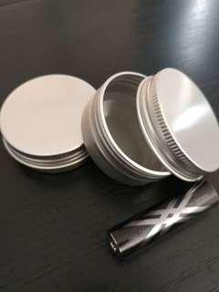 2 Screw Top Round Metal tin can Pill medicine edc Containers Lids (1oz 30g)