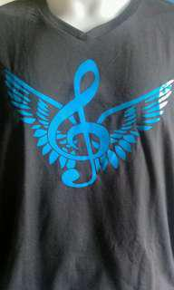 Gray G-Clef with wings musical tshirt Unisex XL