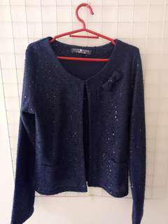 Cache cache navy blue blazer with sequins