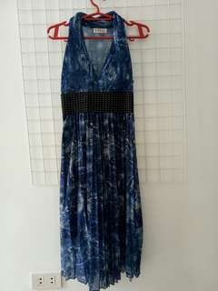 Halter dress with belt