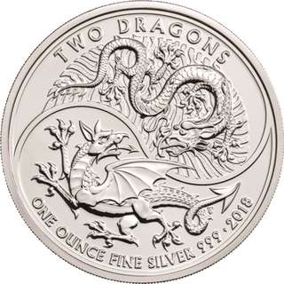 2018 1 OZ GREAT BRITAIN TWO DRAGONS 999 SILVER COIN BU