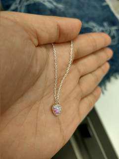 925純銀心形bubble gem opal吊墜頸鍊